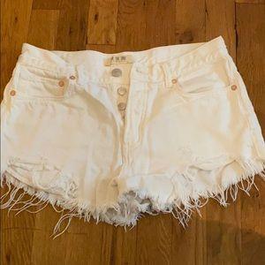 White free people jean shorts